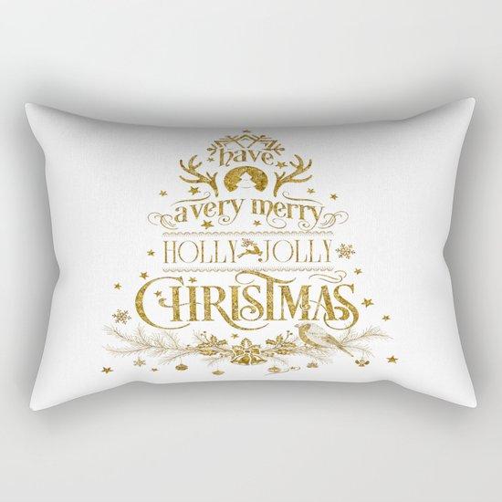 Holly Jolly Christmas- Gold Glitter Typography Rectangular Pillow