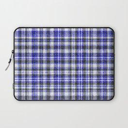 Blue White and Black Fuzzy Tartan Pattern Laptop Sleeve
