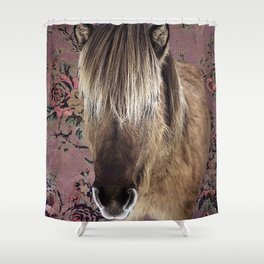 Icelandic pony with rosy posies Shower Curtain