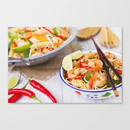 I - Healthy shrimp and vegetables stir-fry in a bowl, brightly lit Canvas Print