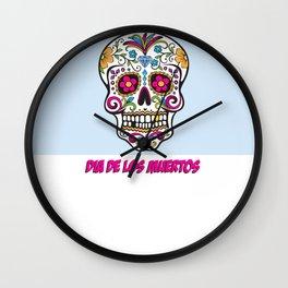 Skull Dia de los Muertos Wall Clock