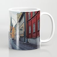 oslo Mugs featuring Oslo street by Lauren Cassidy