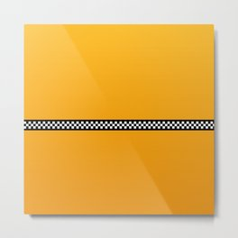 NY Taxi Cab Yellow with Black and white check stripe Metal Print