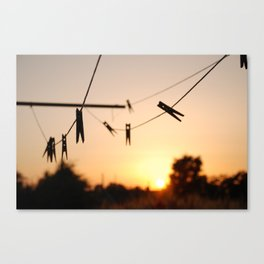 Swallows on a wire Canvas Print