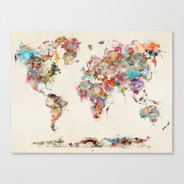 world map watercolor deux Canvas Print