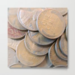 Watercolor Coins, Lincoln Wheat Pennies, 1934/35 01 Metal Print