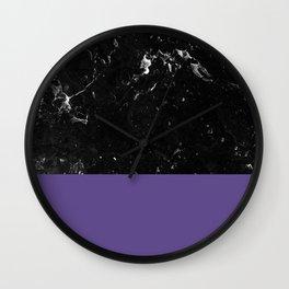 Ultra Violet Meets Black Marble #1 #decor #art #society6 Wall Clock