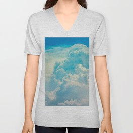 White Cloud In A Blue Sky Heavenly Fluffy Clouds Unisex V-Neck
