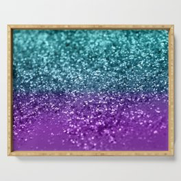 Purple Teal MERMAID Girls Glitter #1 #shiny #decor #art #society6 Serving Tray