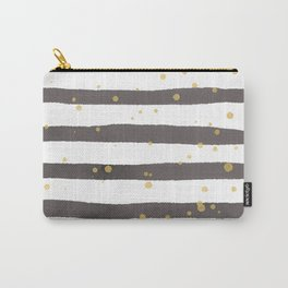 Modern gray yellow white watercolor splatters stripes Carry-All Pouch
