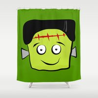 frankenstein Shower Curtains featuring Frankenstein by Jessica Slater Design & Illustration