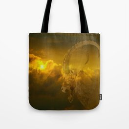 Alpine - Ibex with cloudy sunset background - #Society6 #buyart Tote Bag