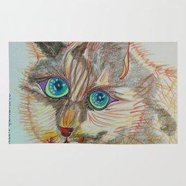 cat, cat art, eyes, cat eyes, green eyes, blue eyes, Rug