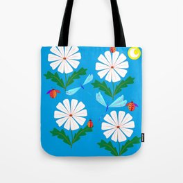 White Spring Daisies, Dragonflies, Lady Bugs and the Sun Tote Bag