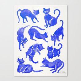 Cat Positions – Blue Palette Canvas Print