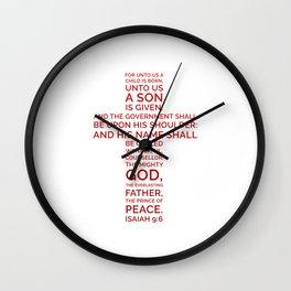Unto Us - Cross Scripture RED Wall Clock