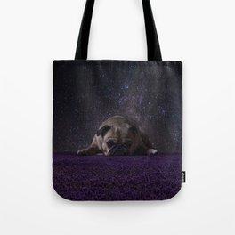 Flower Field Pug Tote Bag
