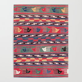 Southwestern Nomad I // 18th Century Colorful Red Blue Green Yellow Shapes and Bands Pattern Poster