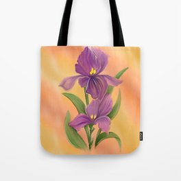 Purple Iris in warm sunshine Tote Bag