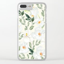Magnolia and Orchid Blossoms Watercolor Clear iPhone Case