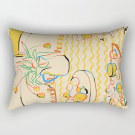YELLOW TULIPS, WINE AND CHEESE Rectangular Pillow