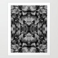 LEAVES REFLECTION BLACK Art Print