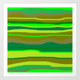 Green Multi Brush Strokes Art Print