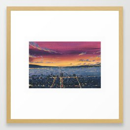 View of LA at dusk from Griffith Observatory Framed Art Print