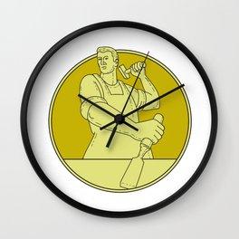 Carpenter Carver Chisel Circle Mono Line Wall Clock