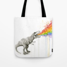 T-Rex Rainbow Puke - Facing Right Tote Bag