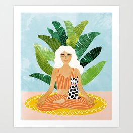 Meditation With Thy Cat #illustration #painting Art Print