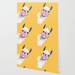 Bubble Gum Sneaky Llama in Yellow Wallpaper