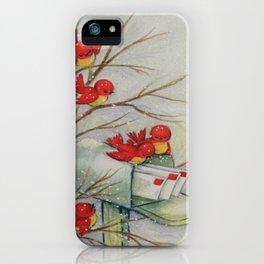 Vintage Christmas Birds iPhone Case