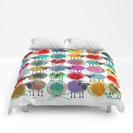 Bright Sheep and Yarn Pattern Comforters