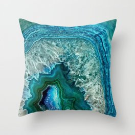 Aqua turquoise agate mineral gem stone - Beautiful Backdrop Throw Pillow