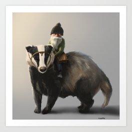 Gnome on Badger Art Print