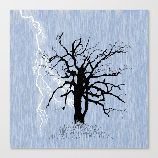 Gnarled Tree and Lightning Canvas Print