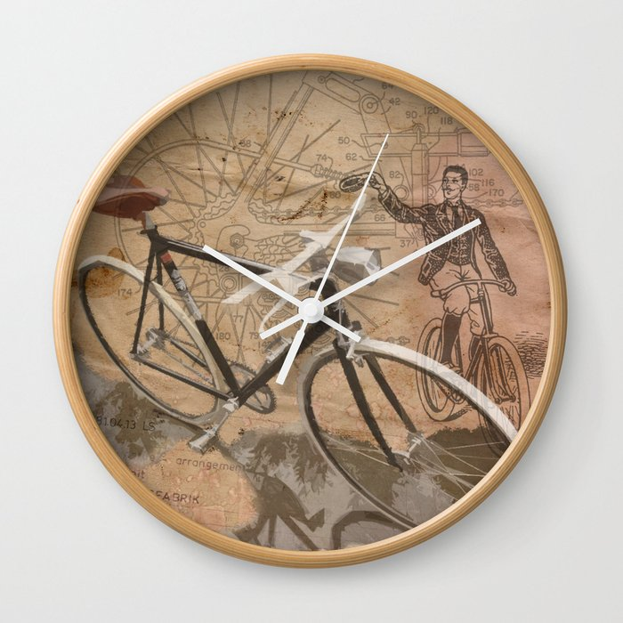 vintage bicycle hipster Wall Clock by sassanfilsoof