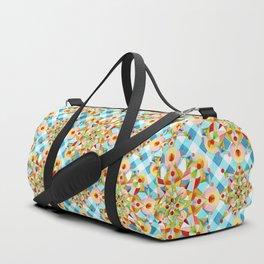 Blue Gingham Pastel Mandala Duffle Bag