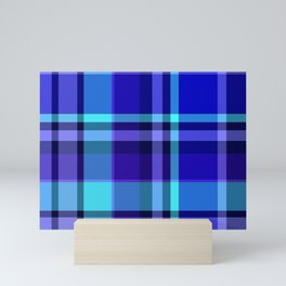 Blue Plaid Pattern Mini Art Print