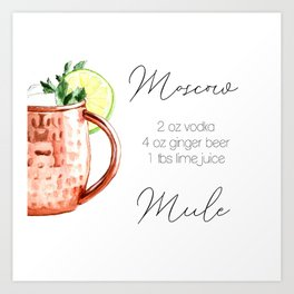 Cocktail Recipe. Moscow Mule. Square Art Print