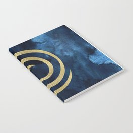 Infinity Navy Blue And Gold Abstract Modern Art Painting Notebook