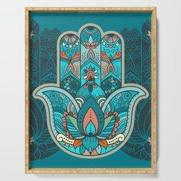 Hamsa Hand of Fatima, good luck charm, protection symbol anti evil eye Serving Tray