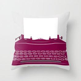 The Lonely Typewriter {dark plum} Throw Pillow