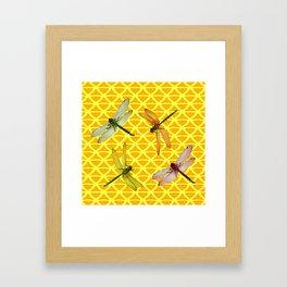 DRAGONFLIES PATTERNED YELLOW-BROWN ORIENTAL SCREEN Framed Art Print