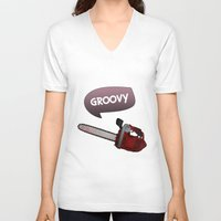 evil dead V-neck T-shirts featuring Evil dead Groovy chainsaw by Komrod