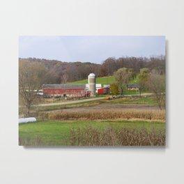 Autumn Wisconsin farm - near Hyde, WI Metal Print