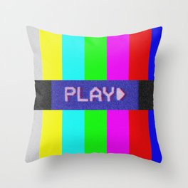 P L A Y *BEEP* Throw Pillow