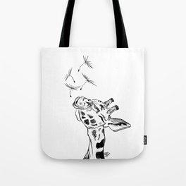 Giraffe blowing dandelion seeds Tote Bag