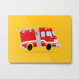 Cute Firetruck Metal Print